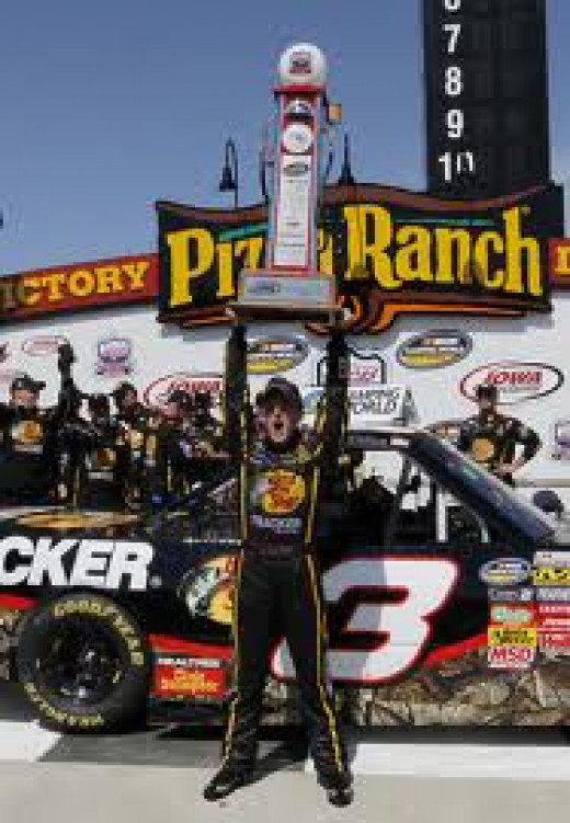 Dillon celebrating his Truck series championship