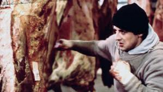 Rocky pounds the meat in anger and frustration at the meat plant where Paulie works.  This scene from the first Rocky film is something to see indeed.