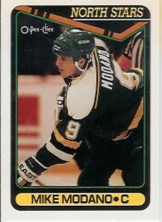 Mike Modano of the NHL Minnesota North Stars, Dallas Stars and Detroit Red Wings, shoots left handed