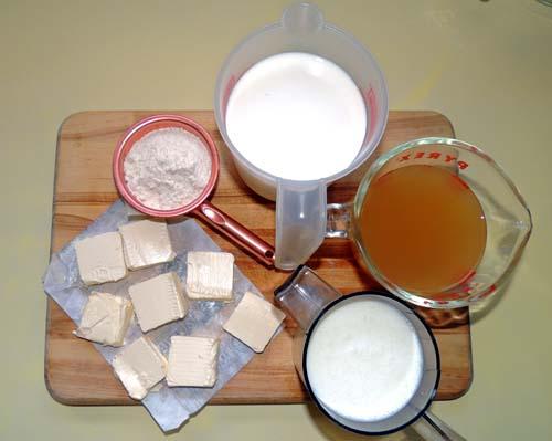 assemble flour, butter, stock and milks