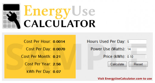 Visit EnergyUseCalculator.com to use this simple web calculator for free to find out energy consumption and cost of any device!