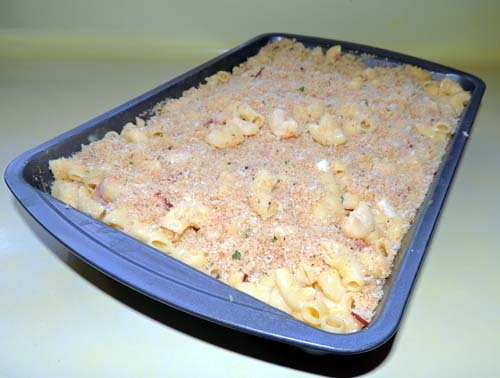 top with buttery breadcrumbs, cook at 350 for 30 minutes--