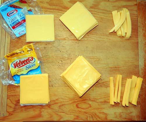 Using @ half of each cheese package, unwrap