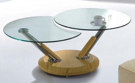 Unusual oak and glass coffee table