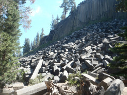 Devils Postpile National Monument with its famous volcanic columnar joints.