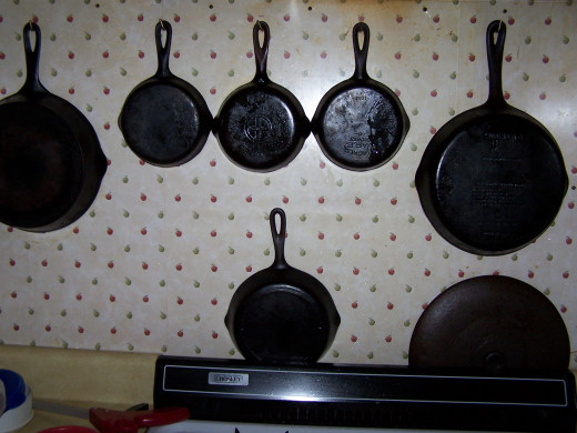 A bunch of cast iron pans from my grandmother and some from my wifes' mother.