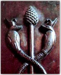 The Staff of Osiris symbolizes Kundalini energy rising up to the Third Eye.