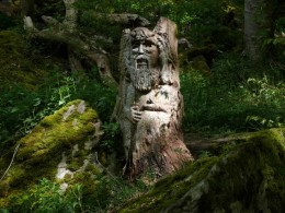 One of the many faces carved from wood that are found all over Weem Woods.