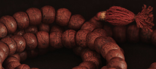 Buddhist wooden prayer beads.