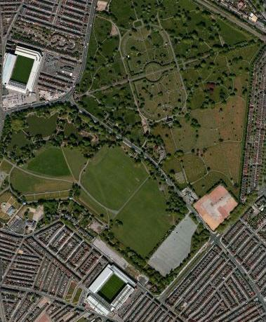 Stanley Park, with Everton FC at the top and Liverpool FC at the bottom
