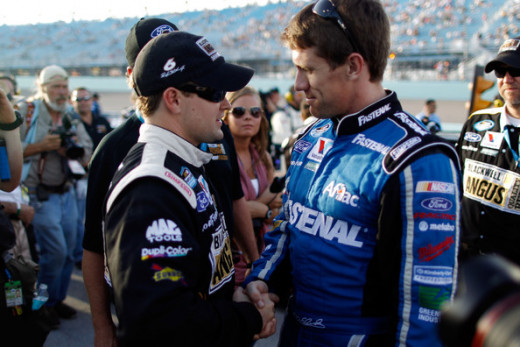 Stenhouse (left) won the title but it was Carl Edwards who won the races in 2011