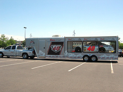 The Coors Light Nascar car, seen in a parking lot in Norman, Oklahoma.