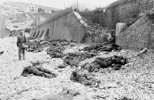 The sea wall at Puys after the raid.