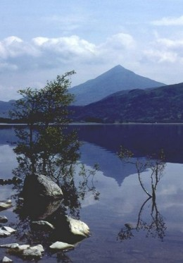 Schiehallion - the Fairy Hill - with Loch Rannoch in the foreground.