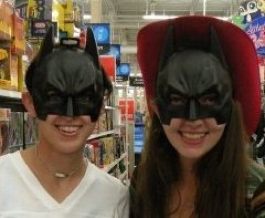 My best friend (Cowboy Batgirl) and I (Batgirl) shopping.  This is why we shouldn't be allowed anywhere near the toy aisles.