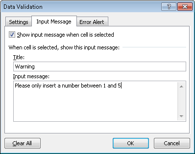 Configuring the input message for data validation in Excel 2007 and Excel 2010.