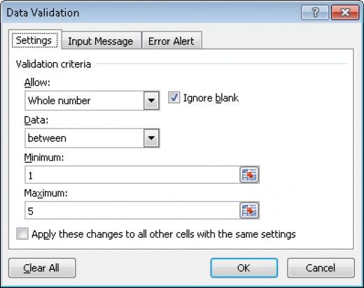 Configuring the validation criteria for data validation in Excel 2007 and Excel 2010.