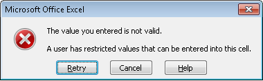 Default error received when a user types in data outside of the data validation criteria in Excel 2007 and Excel 2010.