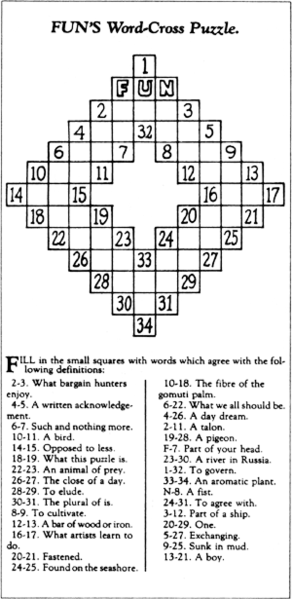 The first crossword puzzle appeared in 1913 in the New York World newspaper.