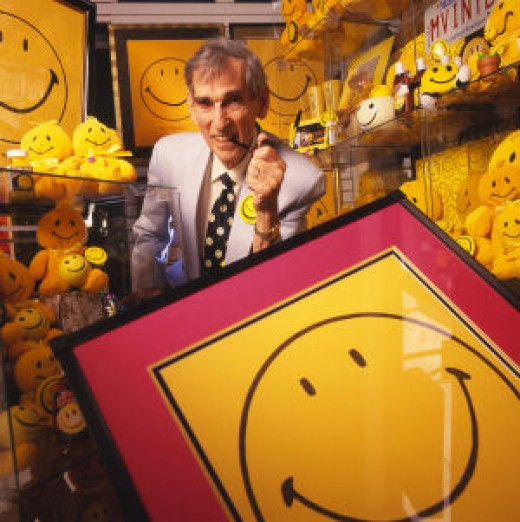 Harvey Ball surrounded by Smiley Face merchandise