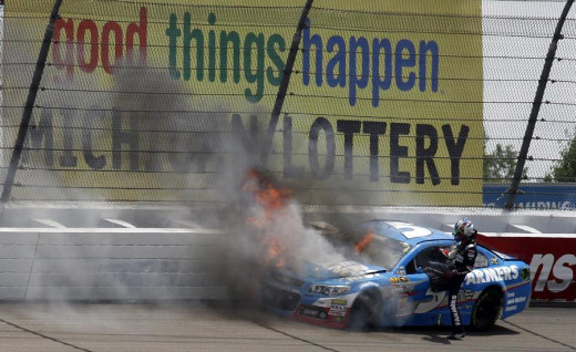 Kasey Kahne's earlier finish at Michigan ended in a fiery crash