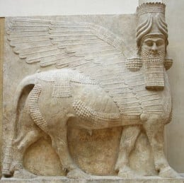 Bas-relief from the m wall, k door, of king Sargon II's palace at Dur Sharrukin in Assyria (now Khorsabad in Iraq) from 713 until 716 BC