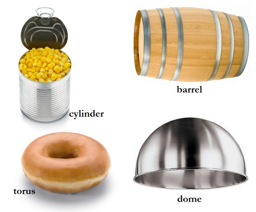 Cylinder, barrel, torus, and dome.