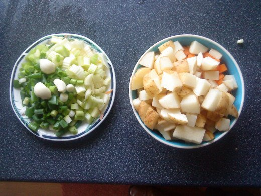 Ready for cooking - celery, onions and garlic plus potatoes and carrots.