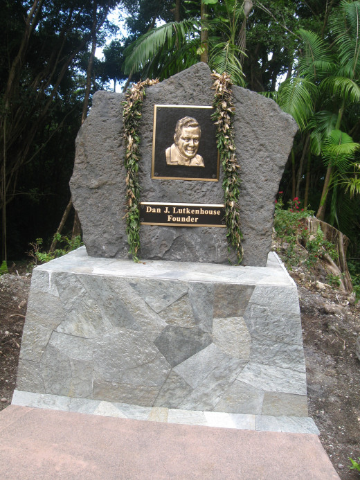 Monument to Dan Lutkenhouse who purchased the land and created the Hawaii Tropical Botanical Garden