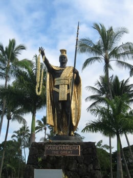 Statute of King Kamehameha the Great in Downtown Hilo, Hawaii