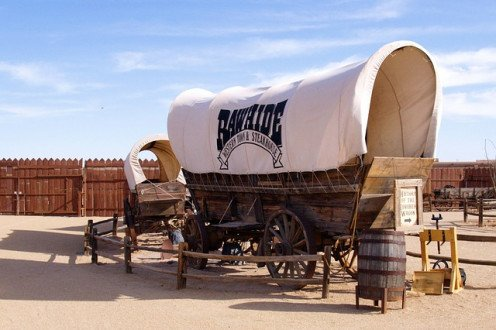 Chuck wagons in a historic display.