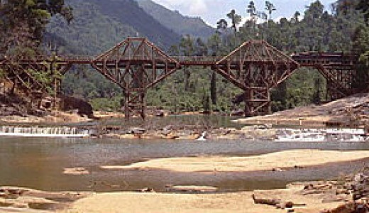 Bridge over the river Kwai as seen in the movie of the same name. This image is a screenshot of 1957 film The Bridge on the River Kwai imdb_id= 0050212 ==Fair use rationale== Though this image is subject to copyright, its use is covered by the U.S. f