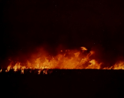 A cane fire also known as a burn off in the 1980s  pours black 'snow' into the sky. Mackay cane industry now promotes green harvesting.