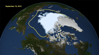 September 16, 2012 is identified as the lowest minimum for arctic sea ice for 2012. The blue tint highlights the sea ice, while the yellow line is the average sea ice minimum from 1979 through to 2010. .
