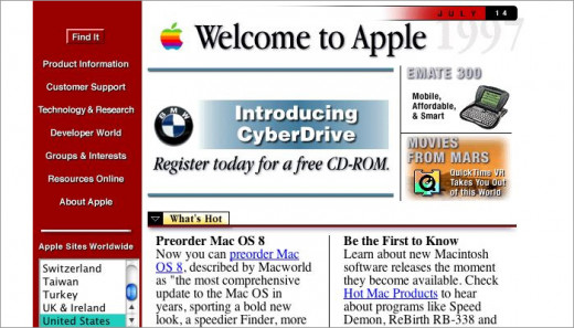 Apple Website Design - 1997