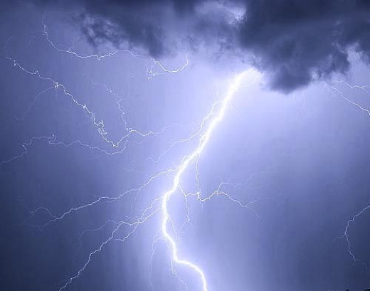 Lightning strike at high altitude