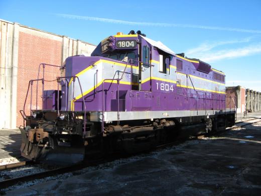 Train engine on display at the Gold Coast Railroad engine