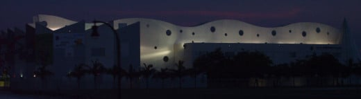 A night view of the Children's Museum from the MacArthur Causeway in Miami