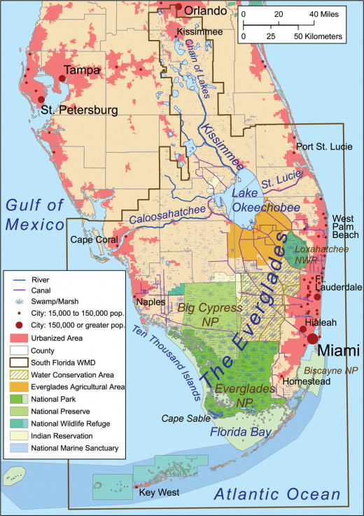 A roadmap of the Everglades National Park, Florida