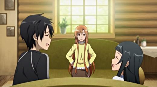 "Kirito, Asuna, and Yui enjoying happy times in their lakeside cabin in ""Sword Art Online""."
