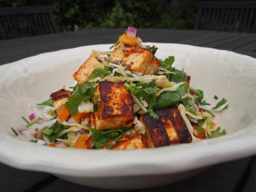 Zesty Tofu Salad with Turmeric Dressing, a vegan salad meal.