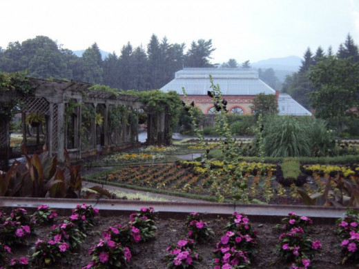 The weather was terrible once we got the the gardens, so we stayed in the car and took pictures as we drove by.