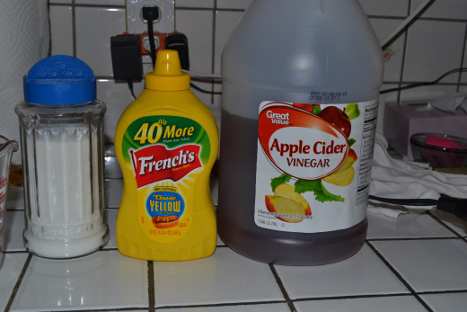 Add your sugar, mustard, and vinegar.