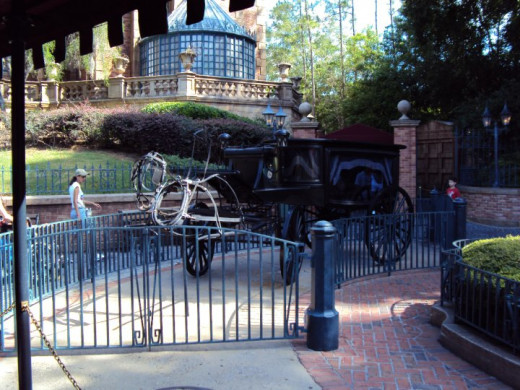 "Invisible horse outside of ""The Haunted Mansion"""