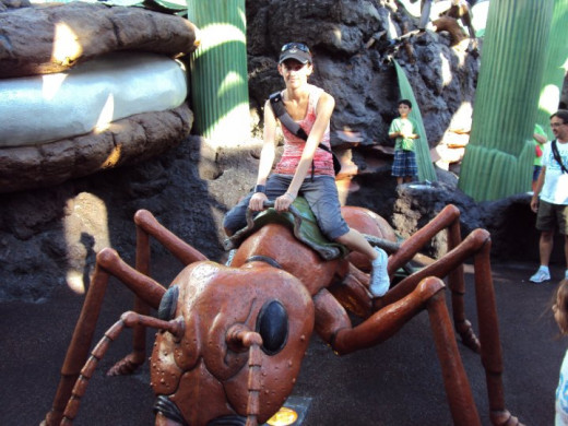 "Riding the ant inside the ""Honey I Shrunk the Kids!: Movie Set Adventure"" - a big playground based on the movie"