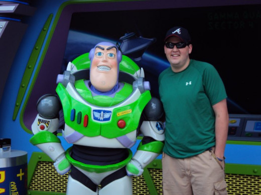 My boyfriend Sean didn't have to wait long to meet Buzz Lightyear...we were second in line.  Lucky!