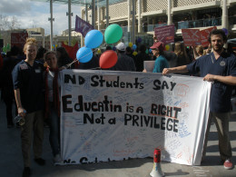 The spelling error on this banner fully proved the validity of the cause.