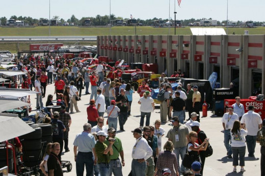 Pit pass holders have virtually free reign to wander about the garage area prior to the race