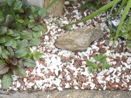 A mix of white marble chips and red gravel with decorative stone.