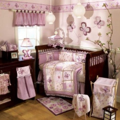 Baby Crib Set - Cocalo  Sugar Plum 8 Piece Crib Bedding Set For Baby Girls